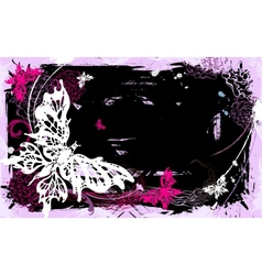 Horizontal backgroung with butterflies and flowers vector