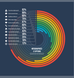 informative infographic circle chart 12 options vector image vector image