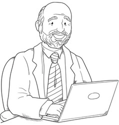 Man with a laptop vector