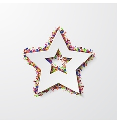 Modern star with confetti on white vector