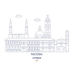 Nicosia city skyline vector