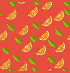 orange lemon on red background seamless pattern vector image
