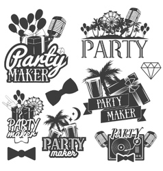 party maker set of emblems badges vector image