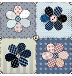 Patchwork with flowers vector