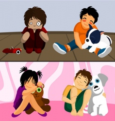 pet with kids vector image vector image