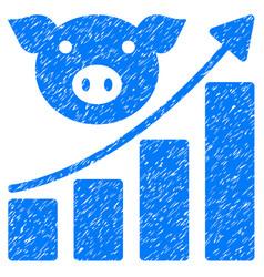 Pig growing chart icon grunge watermark vector