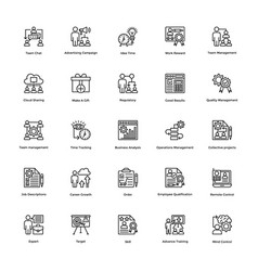Project management line icons set 24 vector