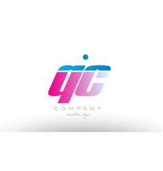 qc q c alphabet letter combination pink blue bold vector image vector image