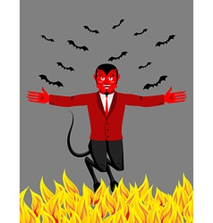 Red devil in hell funny demon and bat satan with vector