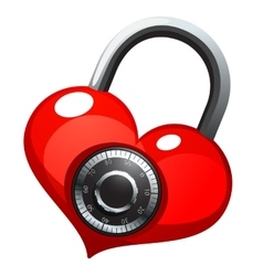 Red heart with shiny metal round combination lock vector