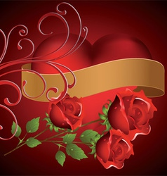 Red heart with three roses vector image vector image