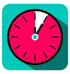 Retro Flat Design Clock - Five Minutes Stop Watch vector image vector image