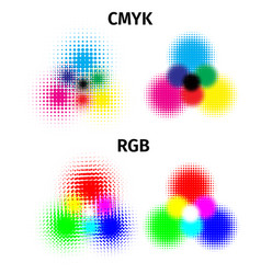 Rgb and cmyk halftone color vector