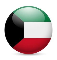 Round glossy icon of kuwait vector image