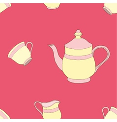 Seamless of Teaset vector image vector image