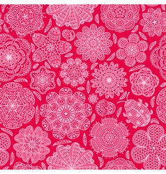 Seamless pattern with flowers and ladybug vector