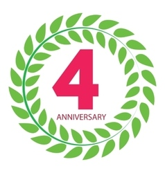 Template logo 4 anniversary in laurel wreath vector