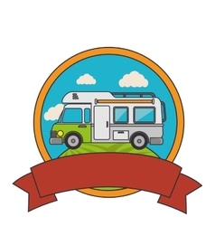 trailer travel car isolated icon vector image vector image