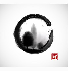 Trees in fog in black enso zen circle on white vector