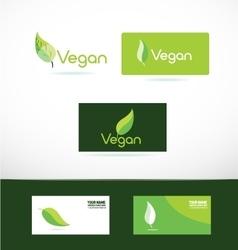 Vegan logo icon leaf green vector