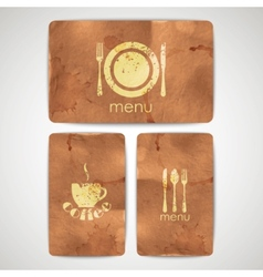 vintage menu labels with grunge cardboard texture vector image vector image