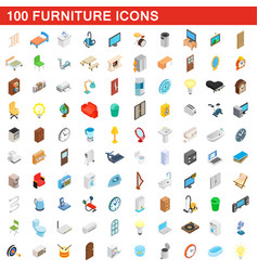 100 furniture icons set isometric 3d style vector image