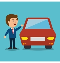 Cartoon man car earnings design isolated vector