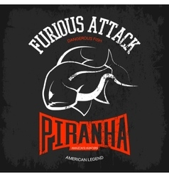Vintage piranha old grunge effect vector