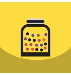 flat icon design collection candy in jar vector image