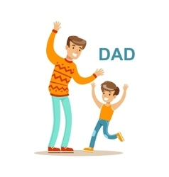Dad playing with his son happy family having good vector