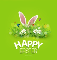 Easter rabbit ears sticking out of the grass vector