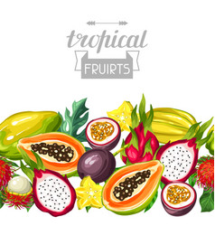 Seamless border with exotic tropical fruits vector