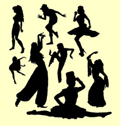 Dancing action silhouette vector