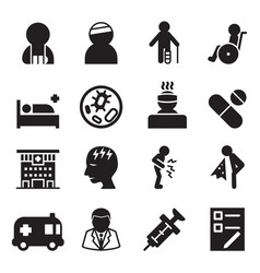 sick injury icons set vector image