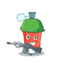 Army aerosol spray can character cartoon vector