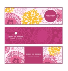 Pink field flowers horizontal banners set pattern vector