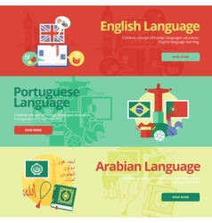 Flat banners for english portuguese arabian vector