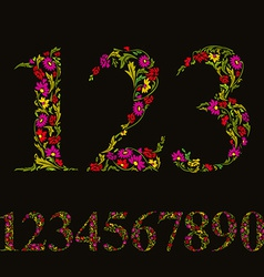 Beautiful floral numbers set numerals vector