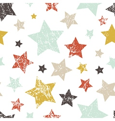 Seamless childish grunge pattern with stars vector