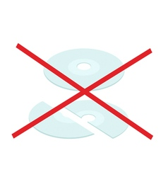Broken cd or dvd compact disc on white background vector
