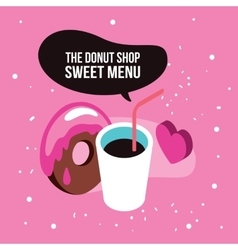 Sweet menu delicious dessert chocolate donut syrup vector