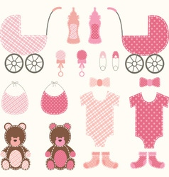 Baby shower girl set vector