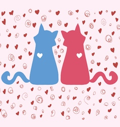 Couple of bright colored cats on valentines day vector