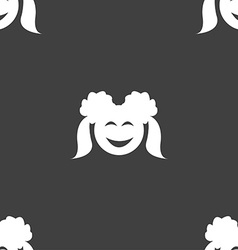 smiling girl icon sign Seamless pattern on a gray vector image
