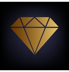 Diamond sign golden style icon vector