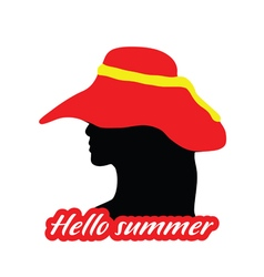 Girl head with hello summer silhouette vector