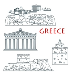 Ancient travel landmarks of Greece thin line icon vector image
