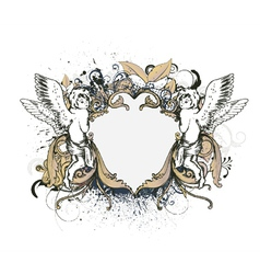 Angels with floral frame vector