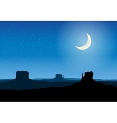 Arizona rocks valley at night vector