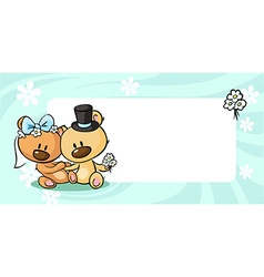 Bears in wedding dress lies on horizontal design - vector